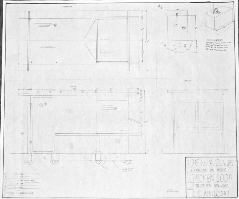Click for full size version.  Structural drawing: shows the dimensions of the coop from overhead, the side, and the front.  Also a detailed drawing of the footer we used, and materials listing.  Everything must be drawing to scale.